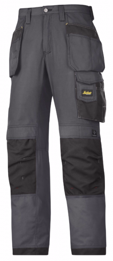 Snickers 3213 Ripstop Craftsmen Holster Pocket Trousers (Steel Grey/Black)